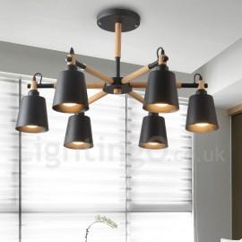 Modern/ Contemporary Wood LED 6 Light Chandelier for Living Room Dining Room Bedroom Lamp