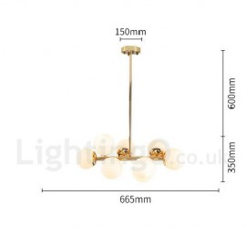 8 Light Modern/ Contemporary Chandelier with Glass Shade for Dining Room Living Room Bedroom LED Light