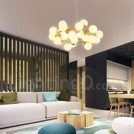 24 Light Modern/ Contemporary Living Room/ Dining Room Chandelier with Glass Shade for Bedroom LED Light