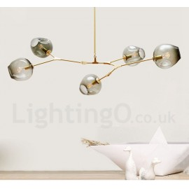 Modern/ Contemporary 5 Light Chandelier with Glass Shade for Living Room Dining Room Lamp