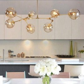 Modern/ Contemporary 7 Light Chandelier with Clear Glass Shade for Living Room, Dining Room & Bedroom Lamp