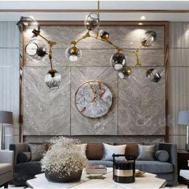 10 Light Golden Chandelier with Glass Shade Modern/ Contemporary Style Light