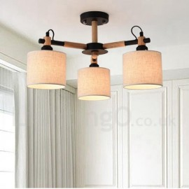 Modern/ Contemporary 3 Light Single Tier Wood Chandelier with Drum Fabric Shade for Bedroom, Living Room & Dining Room