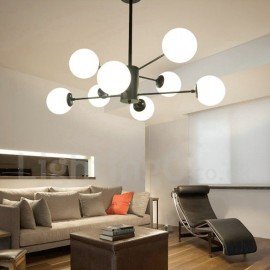 Black 8 Light Modern/ Contemporary 2 Tier Metal Chandelier with Glass Shade for Living Room, Bedroom, Dining Room