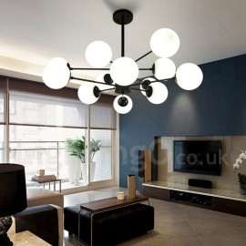 Black 12 Light 2 Tier Metal Chandelier with Glass Shade Modern/ Contemporary Style for Living Room, Bedroom, Dining Room
