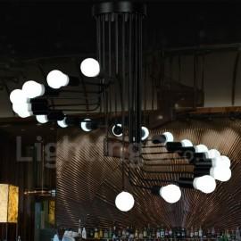 Black 20 Light Retro Vintage Modern/ Contemporary Chandelier Lamp for Living Room Dining Room Bedroom Light