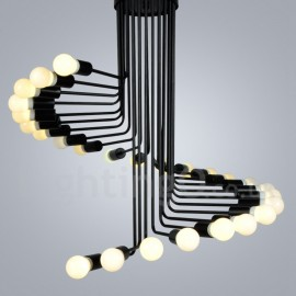 Black 26 Light Retro Vintage Modern/ Contemporary Chandelier Lamp for Living Room Dining Room Bedroom Light