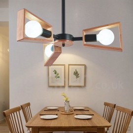 Wood Single Tier 3 Light Chandelier Lamp Modern/ Contemporary Style for Bedroom Dining Room Living Room Light
