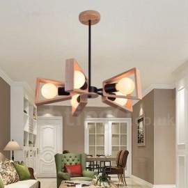 Wood Single Tier 5 Light Chandelier Lamp Modern/ Contemporary Style for Bedroom Dining Room Living Room Light