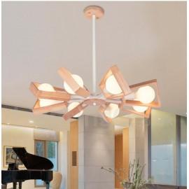 Wood Single Tier 8 Light Chandelier Lamp Modern/ Contemporary Style for Bedroom Dining Room Living Room Light