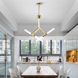 Modern/ Contemporary 2-Tier 4 LED Light Golden Chandelier Lamp for Living Room, Bedroom, Dining Room
