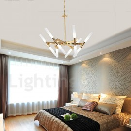 Modern/ Contemporary 2-Tier 12 LED Light Golden Chandelier Lamp for Living Room, Bedroom, Dining Room