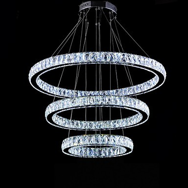 LED Crystal Pendant Lights Modern Lighting Three Rings D406080 K9 Large Crystal Hotel Ceiling Light Fixtures