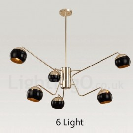 6 Light 2 Tier Modern/ Contemporary Metal Chandelier Lamp with Glass Shade for Dining Room, Living Room Light