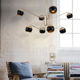 8 Light 2 Tier Modern/ Contemporary Metal Chandelier Lamp with Glass Shade for Dining Room, Living Room Light