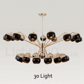 30 Light 2 Tier Modern/ Contemporary Metal Chandelier Lamp with Glass Shade for Dining Room, Living Room Light