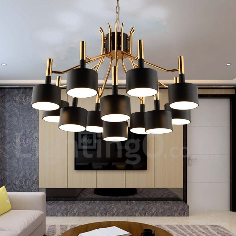 modern contemporary 12 light 2 tier chandelier lamp for dining room living room light. Black Bedroom Furniture Sets. Home Design Ideas