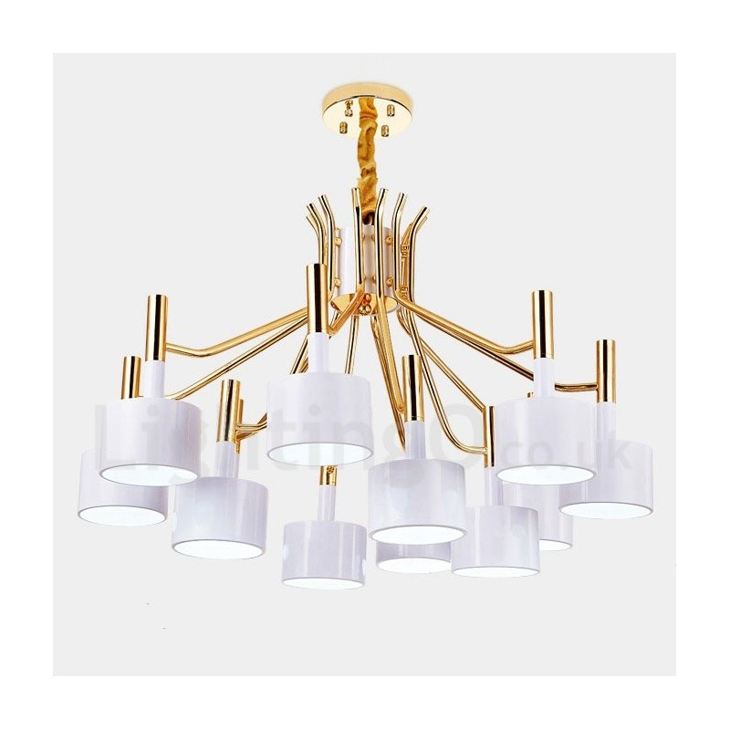 modern contemporary 12 light 2 tier chandelier lamp for dining room living room light lightingo. Black Bedroom Furniture Sets. Home Design Ideas