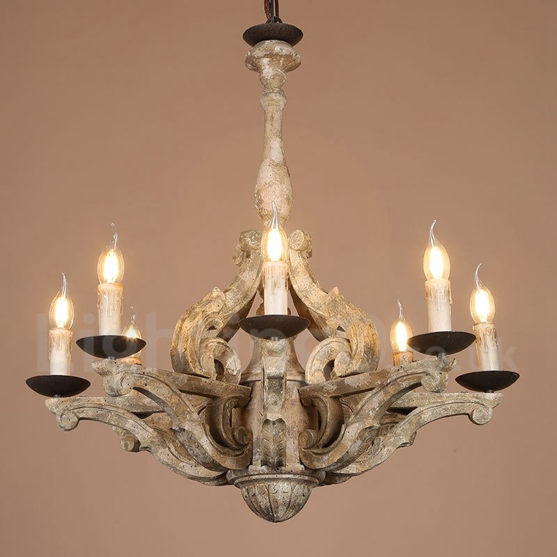 Wood Chandeliers For Dining Room: 8 Light Vintage Retro Wooden Chandelier Lamp For Living