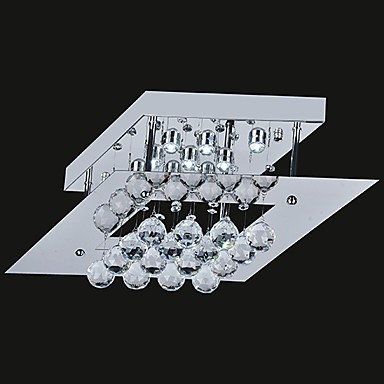 Max 20W Modern/Contemporary Crystal / LED / Bulb Included Electroplated Metal Flush MountLiving Room / Bedroom / Kitchen / Study