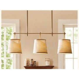 Country Retro 3 Light Copper Chandelier Light with Fabric Shade for Living Room, Bedroom, Dining Room Lamp