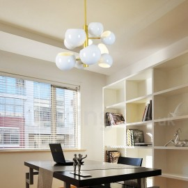 White 10 Light Modern/ Contemporary Chandelier Lamp for Living Room, Bedroom, Dining Room Light