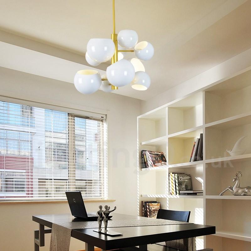 White 10 Light Modern/ Contemporary Chandelier Lamp for Living Room,  Bedroom, Dining Room Light