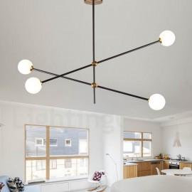 Modern/ Contemporary 4 Light 2-Tier Chandelier Light for Dining Room, Living Room Lamp