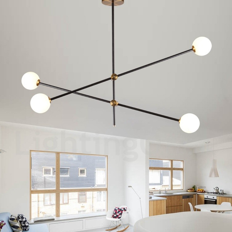 Modern Contemporary 4 Light 2 Tier Chandelier Light For