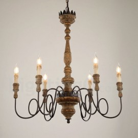 Country Vintage Wooden 6 Light Chandelier Light