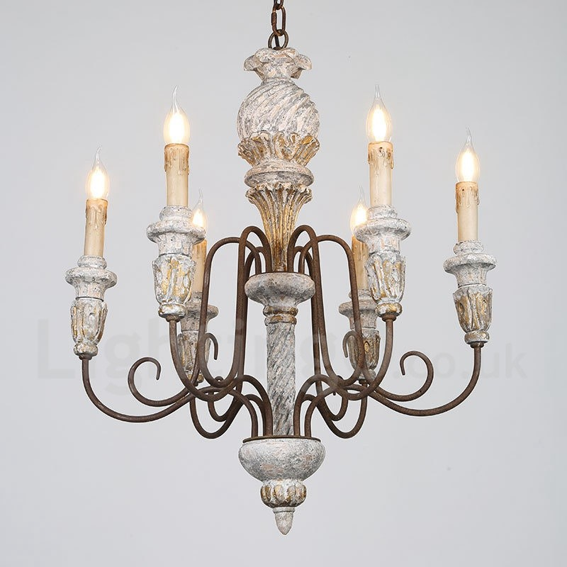 Wood Chandeliers For Dining Room: Country Vintage Wooden 6 Light Single Tier Chandelier For