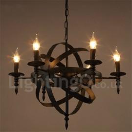 Retro Vintage Metal 6 Light Single Tier Chandelier Light for Living Room, Dining Room Lamp