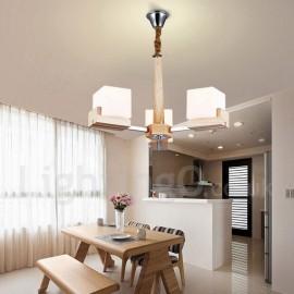 Wooden Modern/ Contemporary 3 Light Single Tier Chandelier Lamp