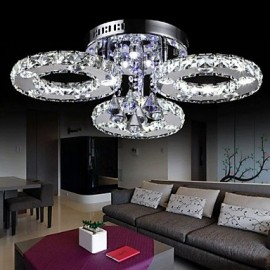 30 Watt Modern/Contemporary Crystal / LED Chrome Metal Flush Mount