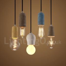 1 Light Rustic / Lodge Concrte Pendant Light for Dining Room, Living Room Study Room/Office Light