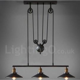 3 Light Country Vintage Living Room Dining Room Metal Pendant Light