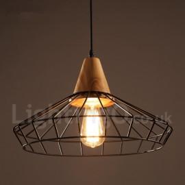 Vintage Dining Room Metal Wooden Pendant Light for Living Room Study Room/Office Lamp