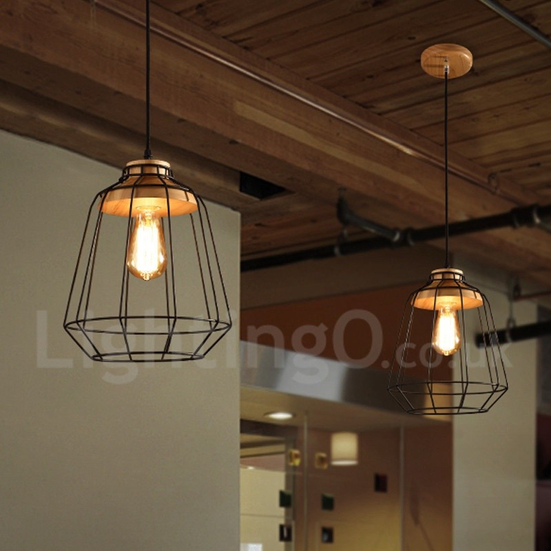 Wooden Study Room: Vintage Dining Room Metal Wooden Pendant Light For Living