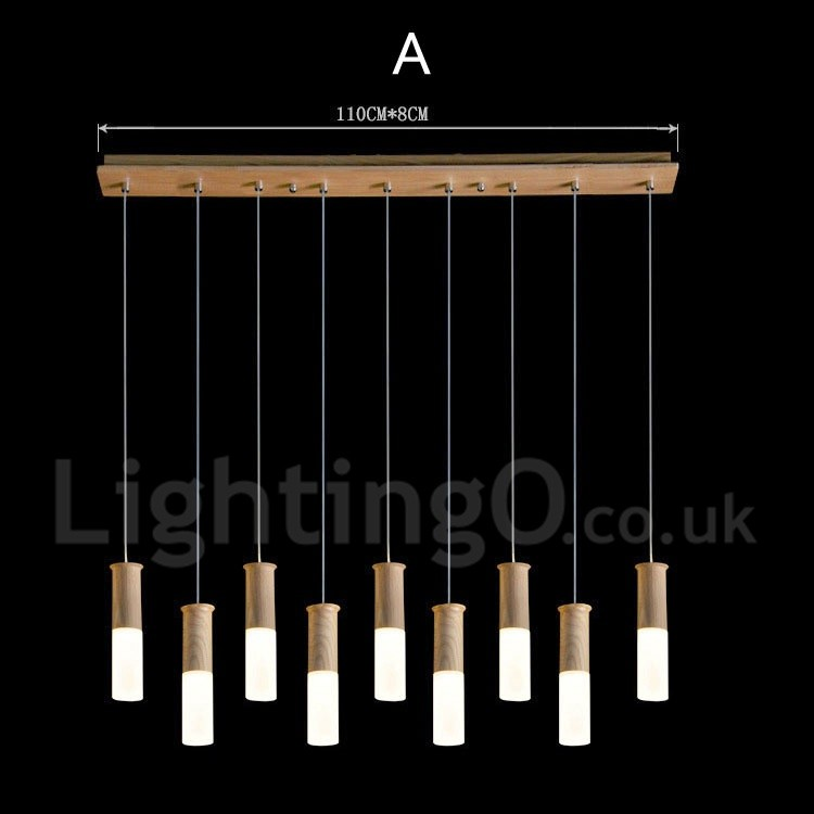 Modern/ Contemporary 9 Light LED Wooden Pendant Light For