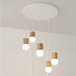 5 Light Wood Rustic / Lodge Living Room Bedroom Pendant Light for Study Room/Office Lamp