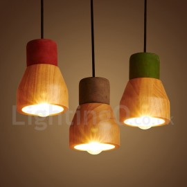 Vintage Wood Concrte Dining Room Bedroom Pendant Light for Study Room/Office Lamp