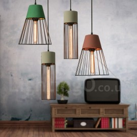 1 Light Metal Concrte Pendant Light for Dining Room Living Room Study Room/Office Lamp