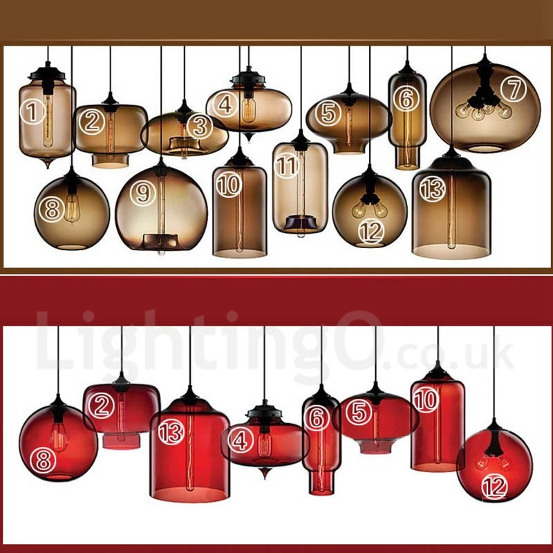 Modern/ Contemporary Multi Colors 1 Light Glass Pendant Light for Bedroom Dining Room Study Room/Office Lamp