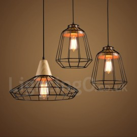 Country Dining Room Metal Wooden Pendant Light for Living Room Bedroom Kitchen Lamp