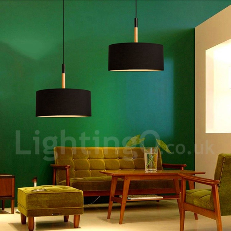Modern Contemporary Bedroom Dining Room Wood Drum Pendant