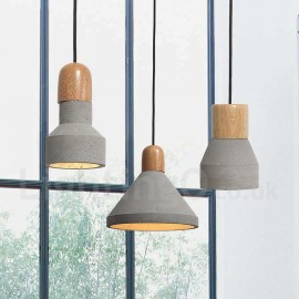 Single Light Modern/ Contemporary Dining Room Bedroom Wood Concrte Pendant Light for Study Room/Office Lamp