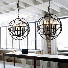 6 Light Metal Globe Vintage Pendant Light for Dining Room, Living Room, Bedroom, Kitchen Lamp