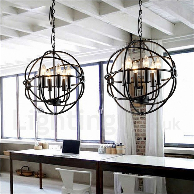 6 Light Metal Globe Vintage Pendant Light For Dining Room