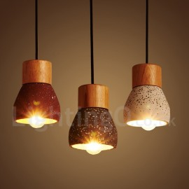 Modern/ Contemporary 1 Light Wood Concrte Pendant Light for Dining Room, Living Room, Bedroom, Kitchen Lamp