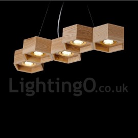5 Light Wood Dining Room Living Room Bedroom LED Modern/ Contemporary Pendant Light